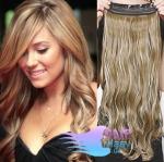 Vlnitý clip in pás 60cm 100% lidské vlasy - světlý melír