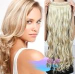 Vlnitý clip in pás 40cm 100% lidské vlasy - platina/světle hnědá