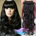 Vlnitý clip in pás 50cm 100% lidské vlasy - černá