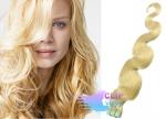 Vlnité tape in 60cm vlasy REMY - nejsvětlejší blond #613