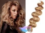 Vlnité tape in 60cm vlasy REMY - přírodní/světlejší blond #18/22