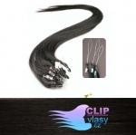 40 cm REMY vlasy k prodloužení micro ring - 0,7g přírodní černá #1b