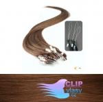 50 cm REMY vlasy k prodloužení micro ring - 0,7g světlejší hnědá #6