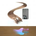 50 cm REMY vlasy k prodloužení micro ring - 0,7g světle hnědá #12