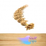 50 cm kudrnaté REMY vlasy k prodloužení keratinem - 0,7g přírodní blond #22