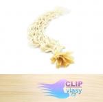50 cm kudrnaté REMY vlasy k prodloužení keratinem - 0,7g platina #60
