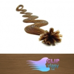 50 cm vlnité REMY vlasy k prodloužení keratinem - 0,7g světle hnědá #12