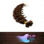 60 cm kudrnaté REMY vlasy k prodloužení keratinem - 0,7g středně hnědá #4