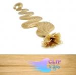 60 cm vlnité REMY vlasy k prodloužení keratinem - 0,7g přírodní blond #22