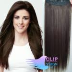 Clip in rychlopás 40cm 100% lidské vlasy - tmavě hnědá
