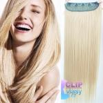 Clip in rychlopás 40cm 100% lidské vlasy - platina