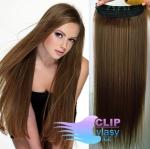 Clip in rychlopás 60cm 100% lidské vlasy - středně hnědá