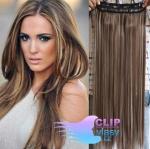 Clip in rychlopás 60cm 100% lidské vlasy - tmavý melír