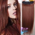 Clip in rychlopás 60cm 100% lidské vlasy - měděná