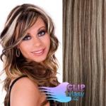 Clip in vlasy REMY 60cm - melír blond a čokoládově hnědá #4/22