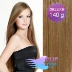DELUXE 40cm clip in vlasy REMY - světle hnědá #12