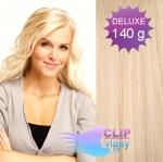 DELUXE 40cm clip in vlasy REMY - nejsvětlejší blond #613