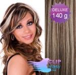 DELUXE 40cm clip in vlasy REMY - tmavý melír #4/27