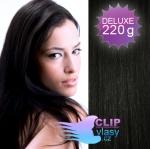 DELUXE Clip in vlasy REMY 50cm - uhlově černá #1