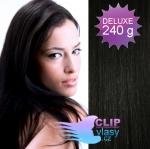 DELUXE Clip in vlasy REMY 60cm - uhlově černá #1
