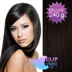 DELUXE Clip in vlasy REMY 60cm - přírodní černá #1b
