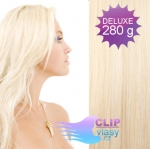 DELUXE Clip in vlasy REMY 70cm - platinově blond #60
