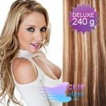 DELUXE Clip in vlasy REMY 60cm - světlý melír #12/613