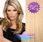 DELUXE Clip in vlasy REMY 60cm - melír přírodní a světlejší blond #18/22