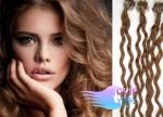Kudrnaté 50 cm vlasy k prodloužení micro ring - 0,5g světle hnědá #12