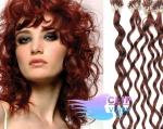 Kudrnaté 50 cm vlasy k prodloužení micro ring - 0,5g měděná #350