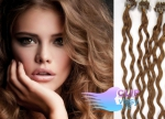 Kudrnaté 50 cm vlasy k prodloužení micro ring - 0,7g světle hnědá #12