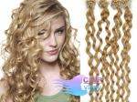 Kudrnaté 50 cm vlasy k prodloužení micro ring - 0,7g přírodní blond #22