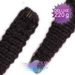 Kudrnaté DELUXE clip in vlasy REMY 50cm - přírodní černá #1b