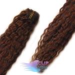 Kudrnaté clip in vlasy REMY 50cm - čokoládově hnědá #4