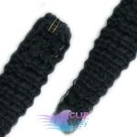 Kudrnaté clip in vlasy REMY 50cm - uhlově černá #1