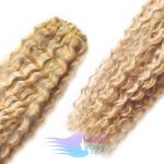 Kudrnaté clip in vlasy REMY 50cm - melír platina/světle hnědá #60/16