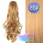 Kudrnatý clip in cop 60 cm kanekalon - melír přírodní a světlejší blond #18/22