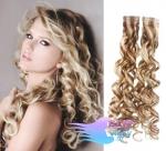 Kudrnaté tape in 50cm vlasy REMY - platina/světle hnědá #60/16