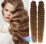 Kudrnaté tape in 60cm vlasy REMY - světle hnědá #12