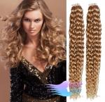 Kudrnaté tape in 60cm vlasy REMY - přírodní/světlejší blond #18/22