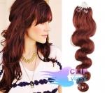 Vlnité 50 cm vlasy k prodloužení micro ring - 0,5g měděná #350