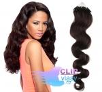 Vlnité 50 cm vlasy k prodloužení micro ring - 0,7g přírodní černá #1b