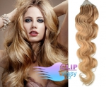 Vlnité 60 cm vlasy k prodloužení micro ring - 0,5g přírodní blond #22