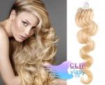 Vlnité 60 cm vlasy k prodloužení micro ring - 0,5g nejsvětlejší blond #613