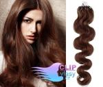 Vlnité 60 cm vlasy k prodloužení micro ring - 0,7g středně hnědá #4