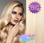 Vlnité DELUXE clip in vlasy REMY 50cm - platina #60