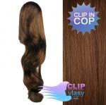 Vlnitý clip in cop 60 cm kanekalon - středně hnědá #6