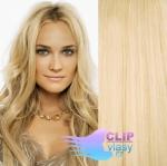 Vlnité clip in vlasy REMY 50cm - nejsvětlejší blond #613