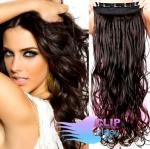 Vlnitý clip in pás 60cm 100% lidské vlasy - přírodní černá