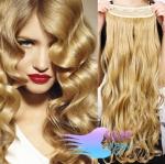 Vlnitý clip in pás 60cm 100% lidské vlasy - přírodní blond